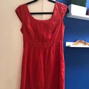 Coral pink cap-sleeved cotton dress